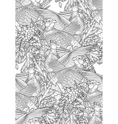Graphic pheasants pattern vector