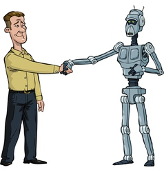 Handshake man and robot vector