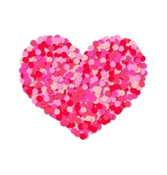 Heart of colored confetti romantic flat object vector