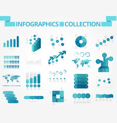 Infographics collection blue graph vector
