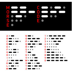 international morse code alphabet and numbers vector image vector image
