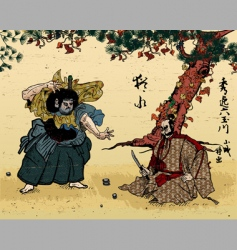 japanese woodblock vector image vector image