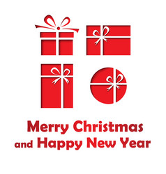 merry christmas and happy new year card vector image