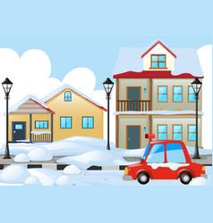 Neighborhood scene with snow on the ground vector