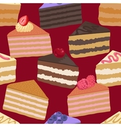 Pieces of cake seamless pattern vector