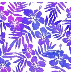 Purple watercolor hibiscus seamless pattern vector image vector image