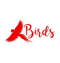 Red logo design with flying bird vector