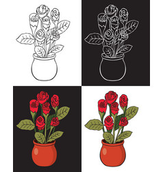 Red rose in pot vector