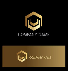 shape polygon gold technology logo vector image