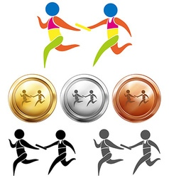 Sport medals with relay running vector image vector image