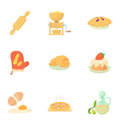 Sweet pastries icons set cartoon style vector