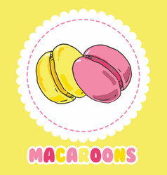 Sweet yellow and pink french macaroon cake vector