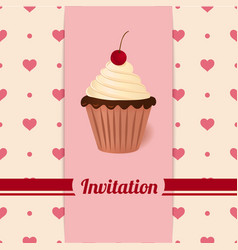 Vintage invitation with cherry cream cake vector image