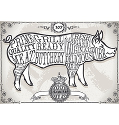 Vintage Page with Cut of Pork vector image vector image