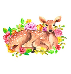 watercolor deer with flowers vector image vector image