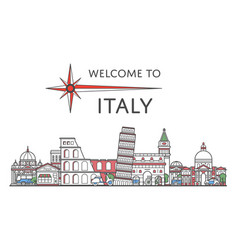 Welcome to italy poster in linear style vector