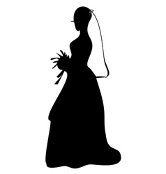 Bride in wedding dress with flowers i vector