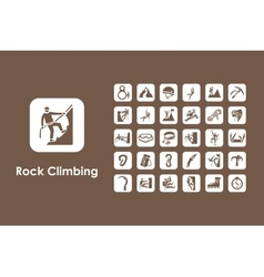 Set of rock climbing simple icons vector image
