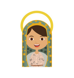 White background of half body virgin of guadalupe vector