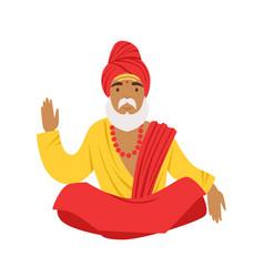 Yogi man in yoga lotus pose wearing traditional vector