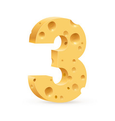 number three on white for design vector image