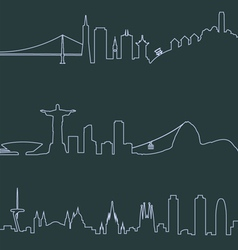 San Francisco Rio and Barcelona profile lines vector image