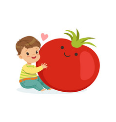 Happy boy having fun with fresh smiling tomato vector