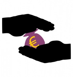 Hands with moneybag vector