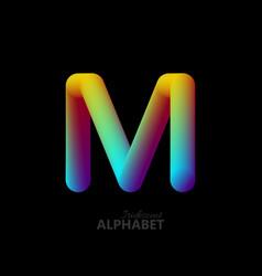 3d iridescent gradient letter m vector