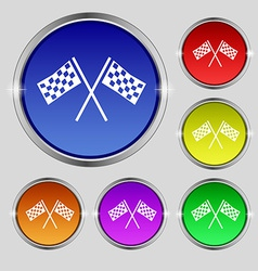 Race flag finish icon sign round symbol on bright vector