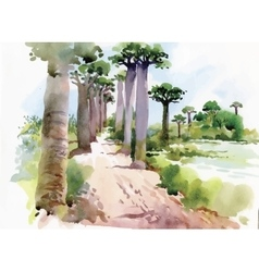 Watercolor painting of summer landscape park way vector