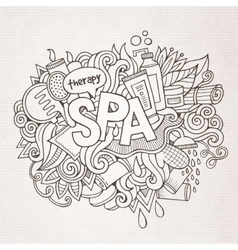 Spa hand lettering and doodles elements background vector