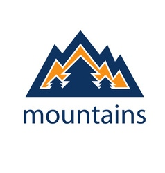 Mountains and pines design template vector