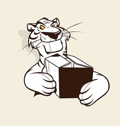 Tiger mascot holding a box vector