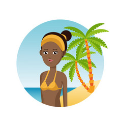 Afro woman travel tourist vacation palm sand beach vector
