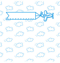 airplane with a poster in the clouds vector image