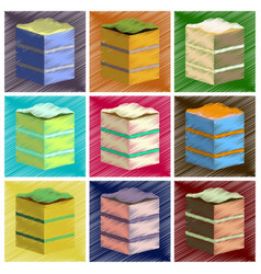 assembly flat shading style icons piece of cake vector image