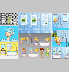 Bathroom scenes with kids doing different vector