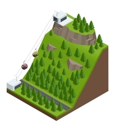 Cableway in the mountains vector