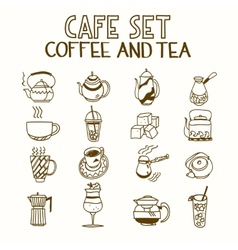 Cafe doodle set coffee and tea Morning breakfast vector image vector image