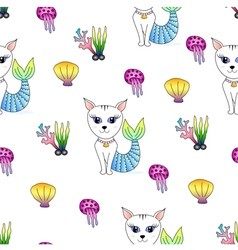 Cat face mermaid seamless pattern vector