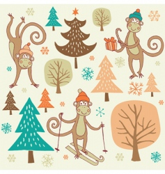 Christmas forest with monkey vector image vector image