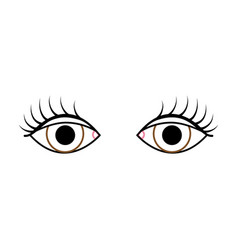 Color line vision eyes with eyelashes style design vector