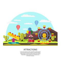 colorful amusement park template vector image vector image