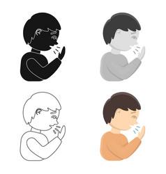 Cough icon cartoon single sick icon from the big vector