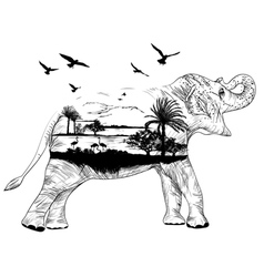 Double exposure african elephant vector