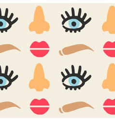 Face features cute seamless pattern eps 10 vector image vector image