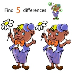 Find differences bear vector image