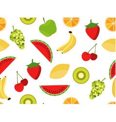 Fruits seamless pattern fruits and berries vector