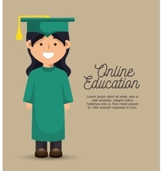 Girl student education online graduation vector